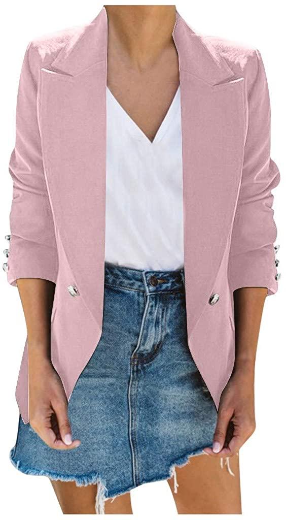 ✷ HebeTop ✷ Womens Long Blazer Work Office Stretchy Open Front Lapel Jacket Solid Knit Blazers