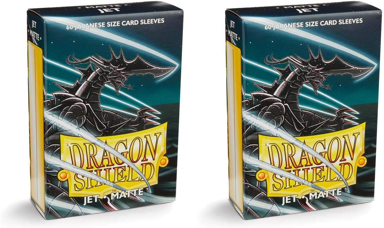 Dragon Shield Bundle: 2 Packs of 60 Count Japanese Size Mini Matte Card Sleeves - Matte Jet
