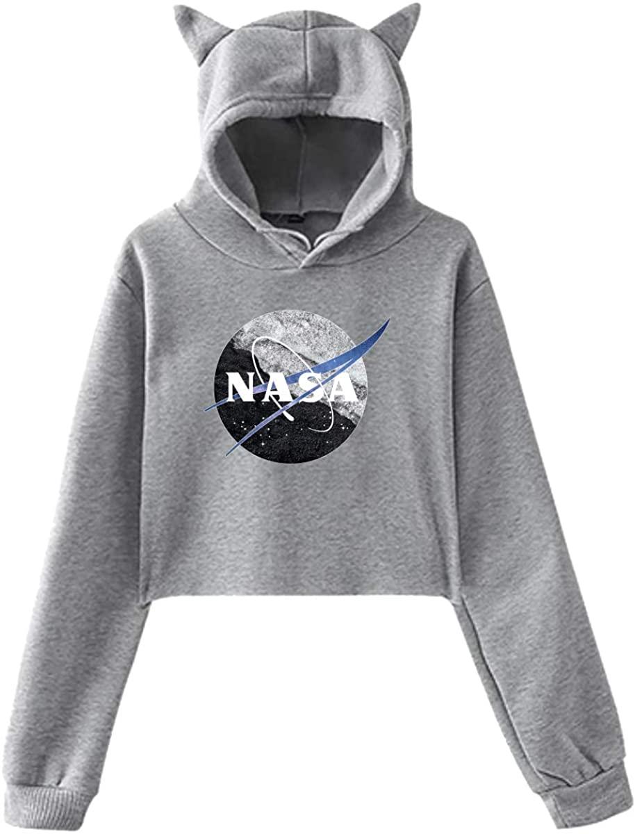 ZHUYOUDAO Women's NASA Logo Long Sleeve Crop Top Hoodie Gray Sweatshirt