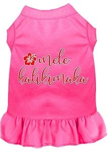 Mirage Pet Product Mele Kalikimaka Screen Print Dog Dress Bright Pink Med