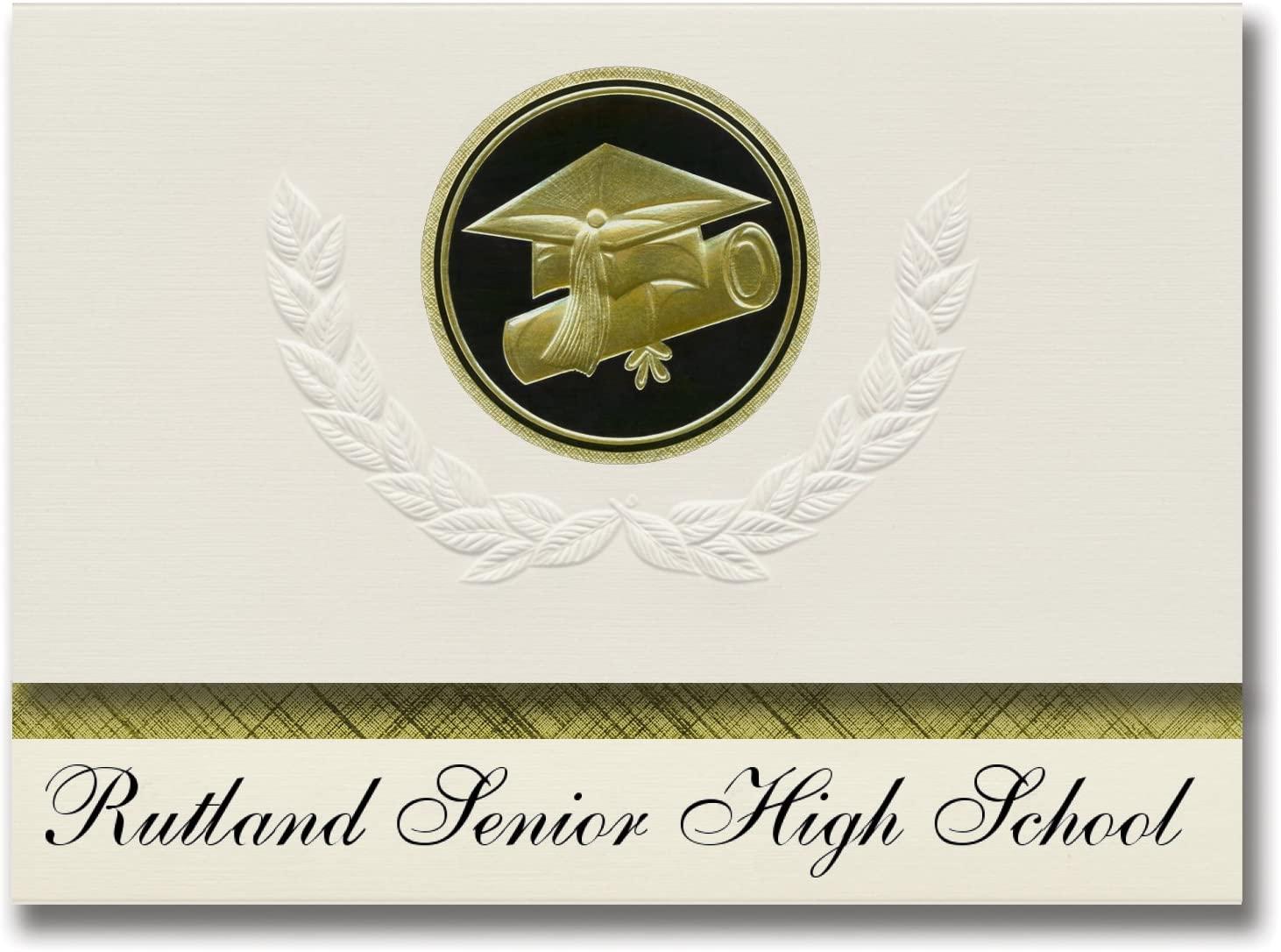 Signature Announcements Rutland Senior High School (Rutland, VT) Graduation Announcements, Presidential style, Elite package of 25 Cap & Diploma Seal Black & Gold