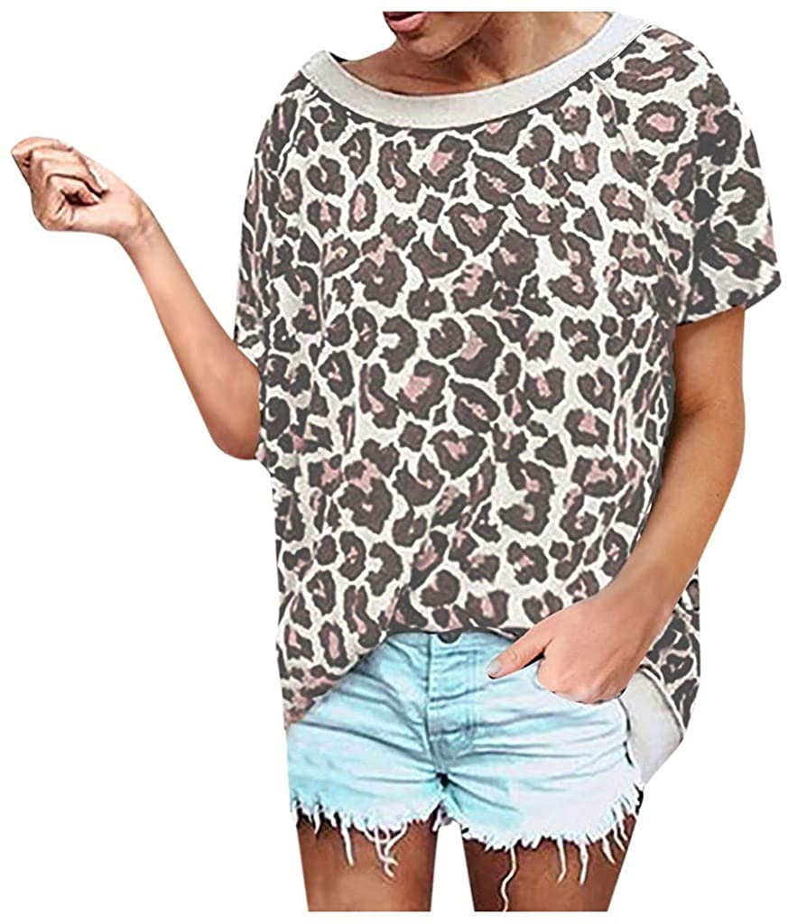 Mikey Store Women 2020 Casual Loose Tops Leopard Camouflage Print Shirt Splice Short Sleeve Blouse