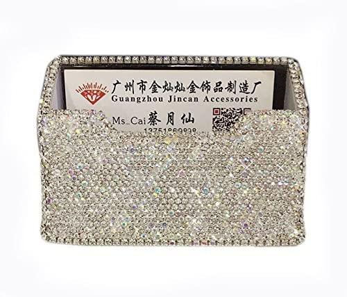 Bestbling Bling Pure Handmade Bling Bling Rhinestones Stainless Steel Metal Business Card Holder Name Card Case (Square)