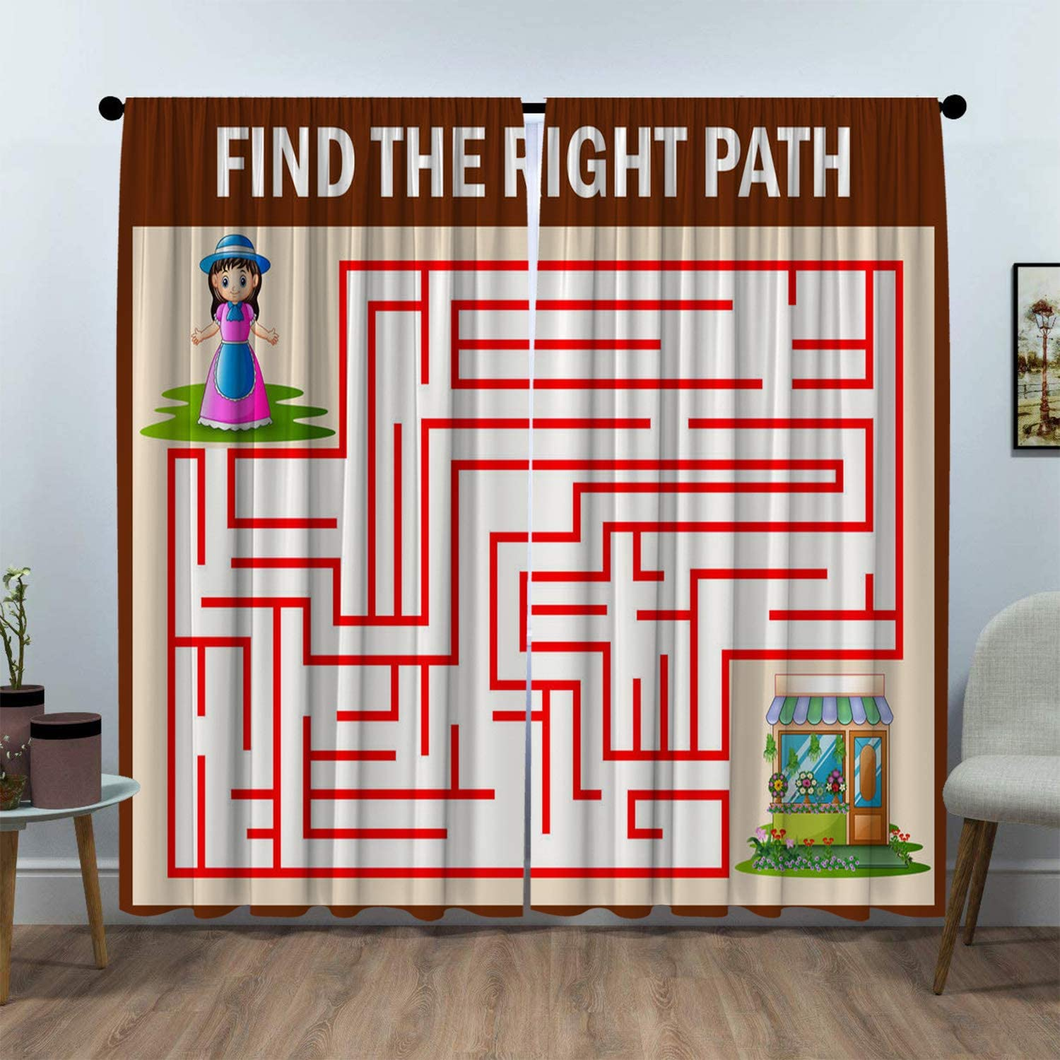 SeptSonne Kids Room Window Curtain Panels Drapes Maze Game of Find Girls Their Way to The Flower Shop Kids Room Darkening Curtains Artwork Customized Curtains 52