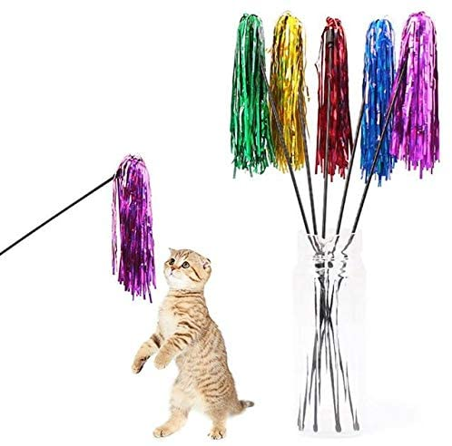 Anixl Cat Teaser Interactive Toy Rod with Bell and Feather