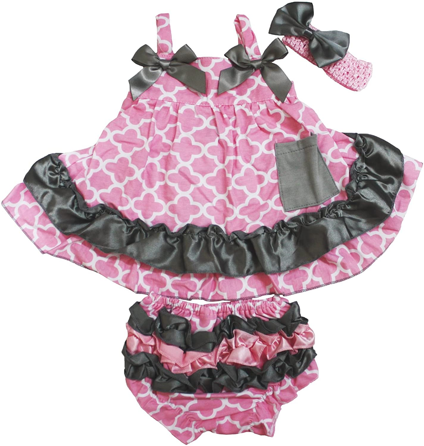 Pink Grey Quatrefoil Swing Top Bloomer Pant Outfit Set Baby Girl Clothing Nb-24m