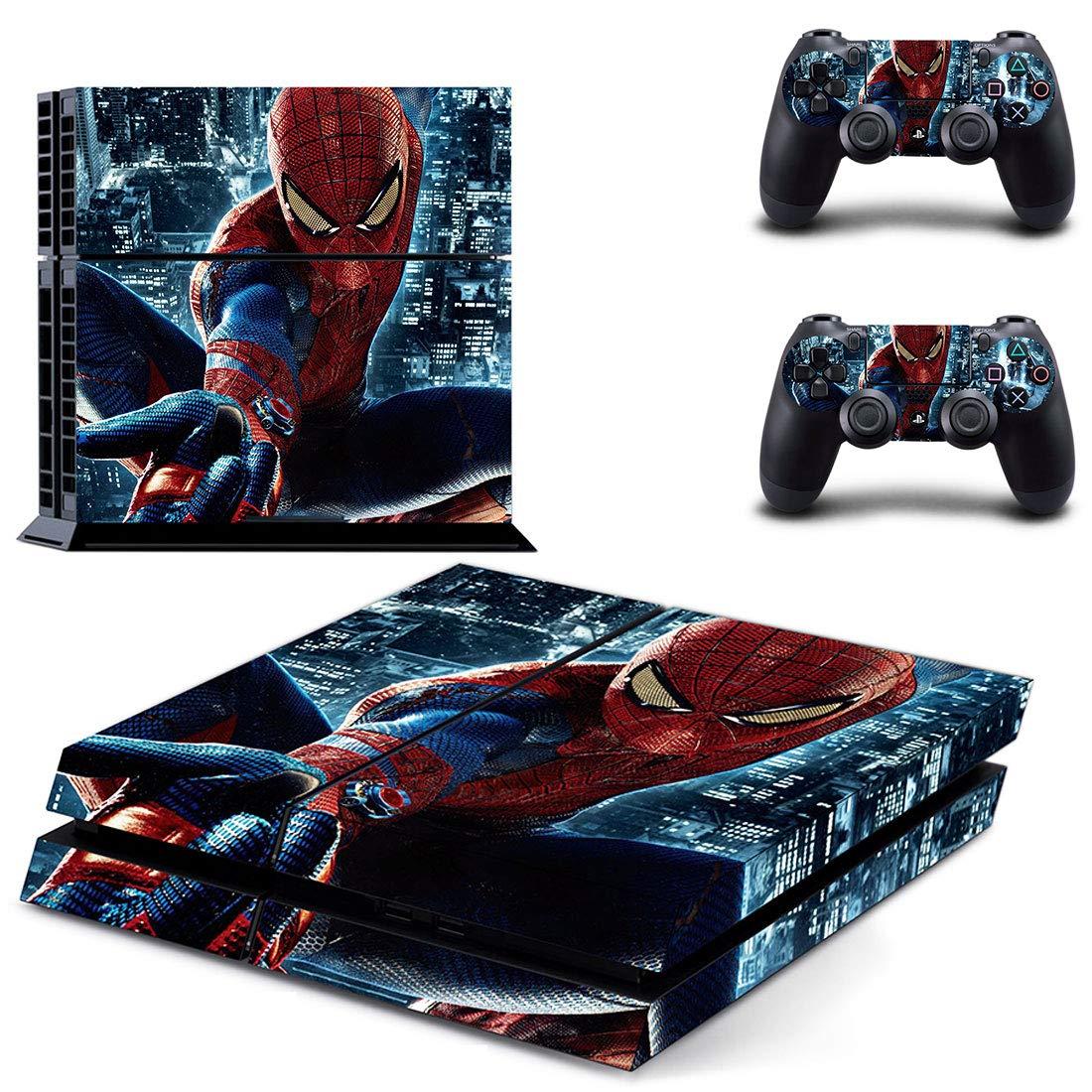 Adventure Games - PS4 ORIGINAL - Spiderman - Playstation 4 Vinyl Console Skin Decal Sticker + 2 Controller Skins Set