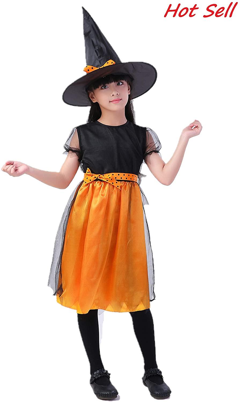 Girls Pumpkin Dress & Halloween Hocus Pocus Witch Costume for 4-13 Years Kids - Emulation Silk