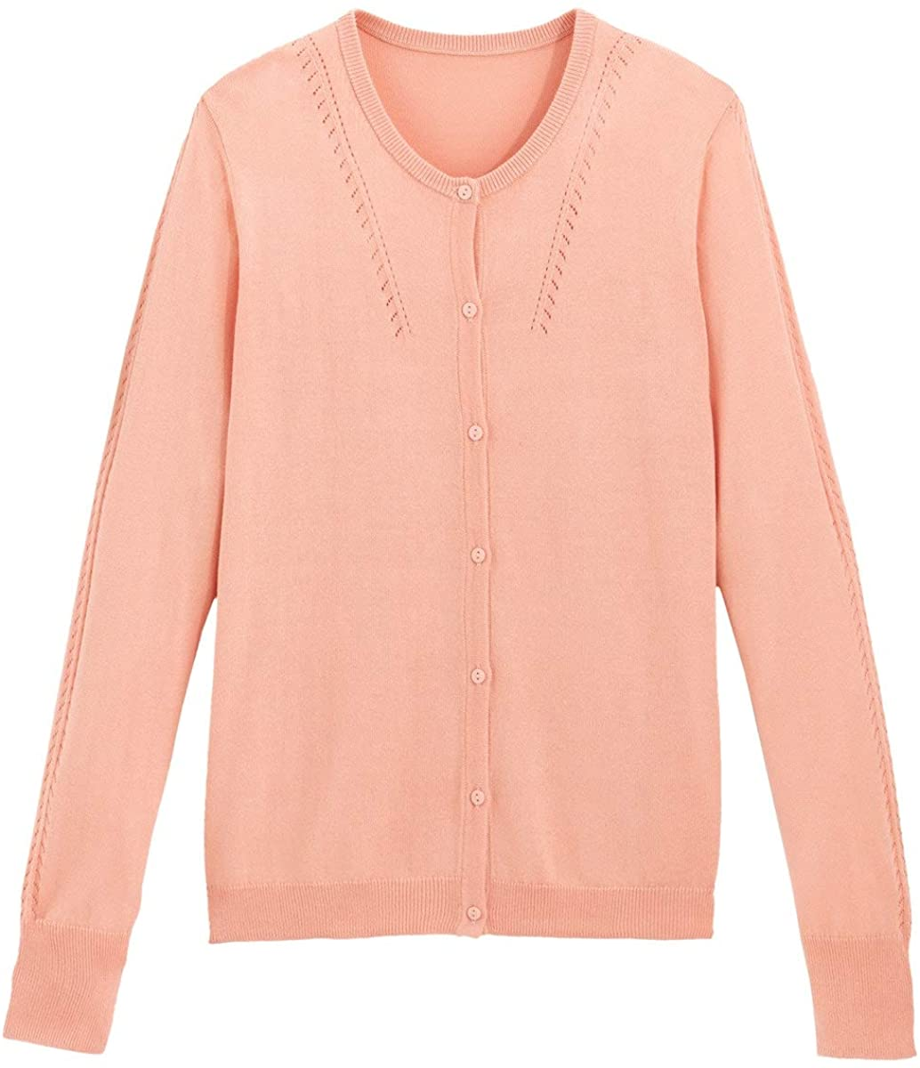 La Redoute Collection Womens Fine Knit Buttoned Cardigan with Crew Neck