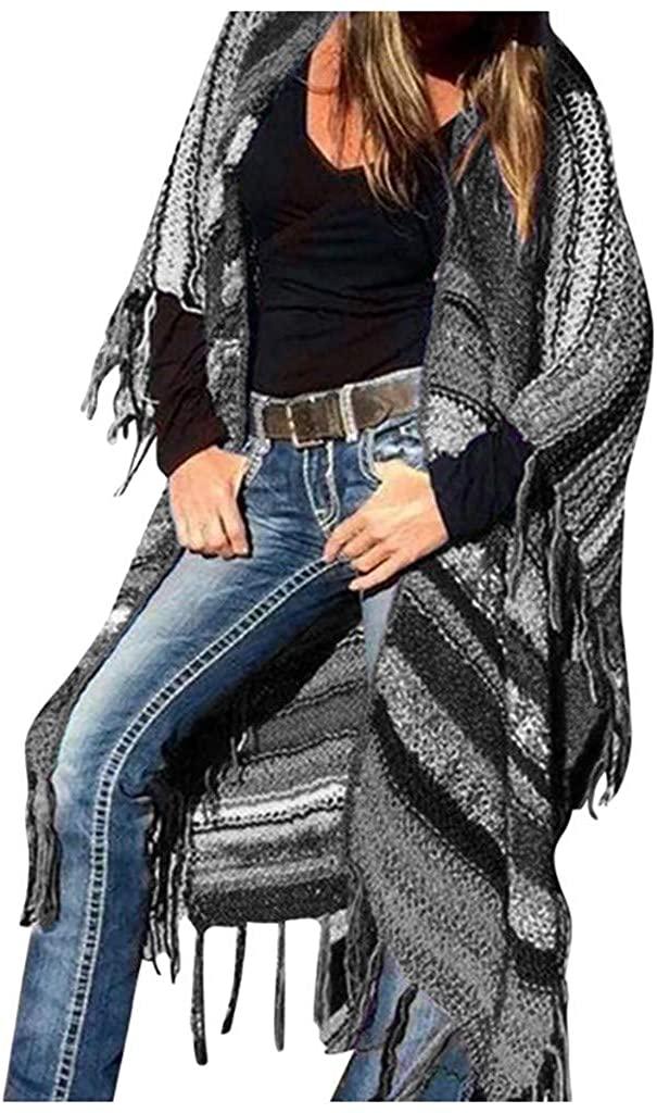 WINJUD Womens Cardigan Ethnic Stripe Print Shawl Bat Sleeve Tassel Top Open Loose Front Coat
