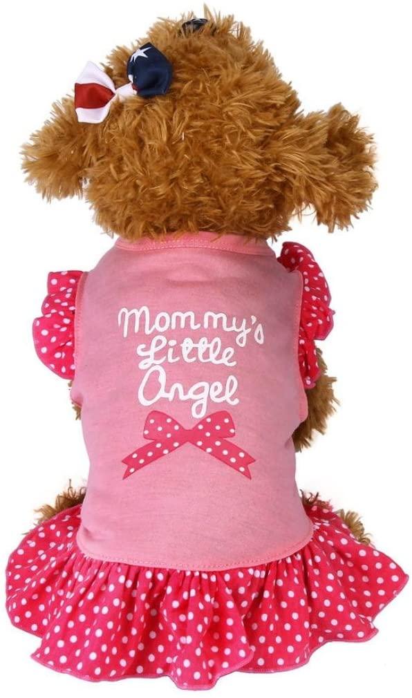 Napoo Pet Summer Vest Dress,Cute Mommy's Little Love Puppy Apparel Lace Podka Dots Tops