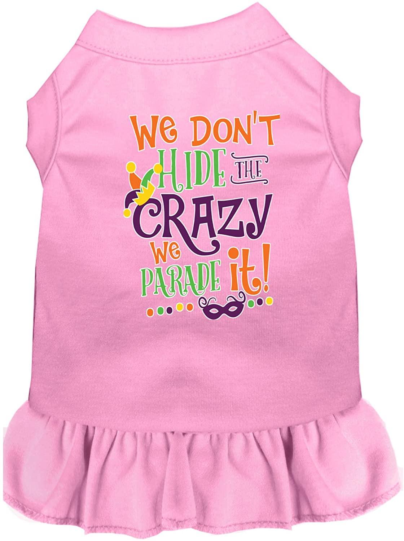 Mirage Pet Product We Don't Hide The Crazy Screen Print Mardi Gras Dog Dress Light Pink Med