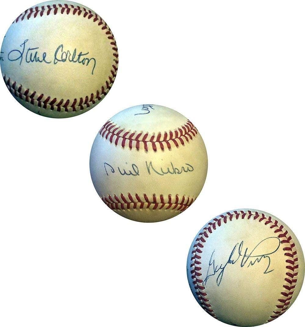 Steve Cartlon, Phil Niekro & Gaylord Perry Autographed Baseball (JSA) - Autographed Baseballs