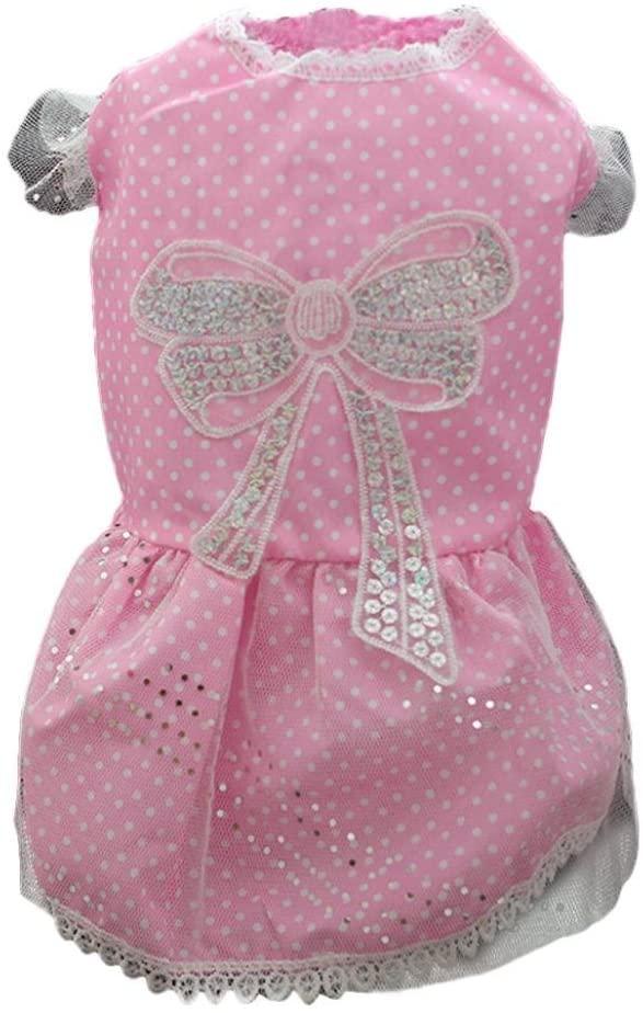 FUNIC Pet Clothes, Puppy Pet Tutu Dress Lace Skirt Princess Costume Dog Cat (X-Small, Pink)