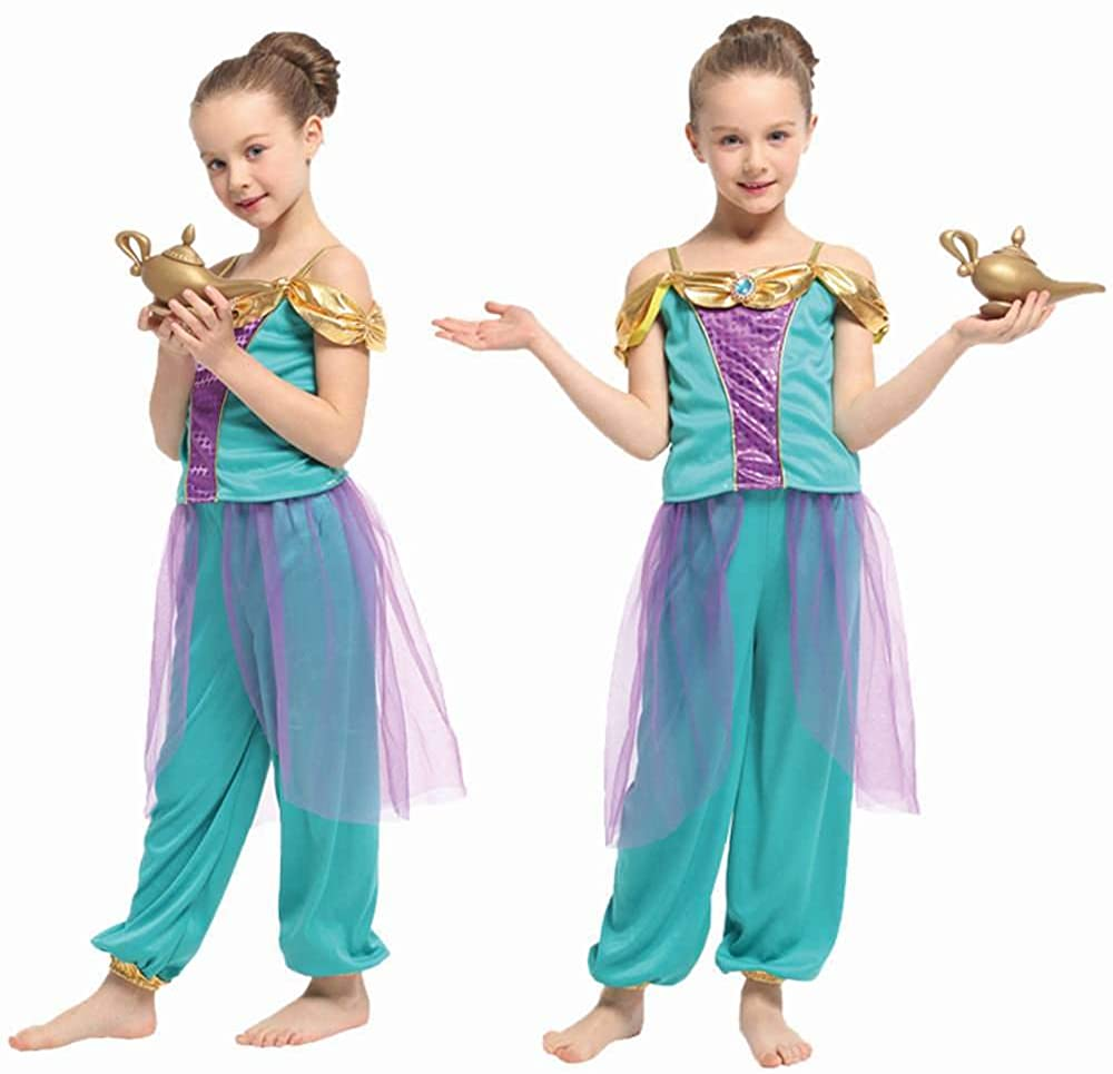 Genie Girl's Costume - 2-Piece Set - Fun for Dress-Up or Costume Party - Very Cute - Teal, Purple & Gold - Size Large