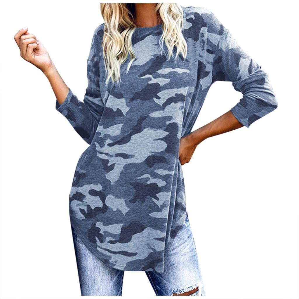 terbklf Women's Camouflage Pullover Sweatshirt Tops Basic Long Sleeve Camo Blouse Loose Shirt Women's Casual Cute T Shirt