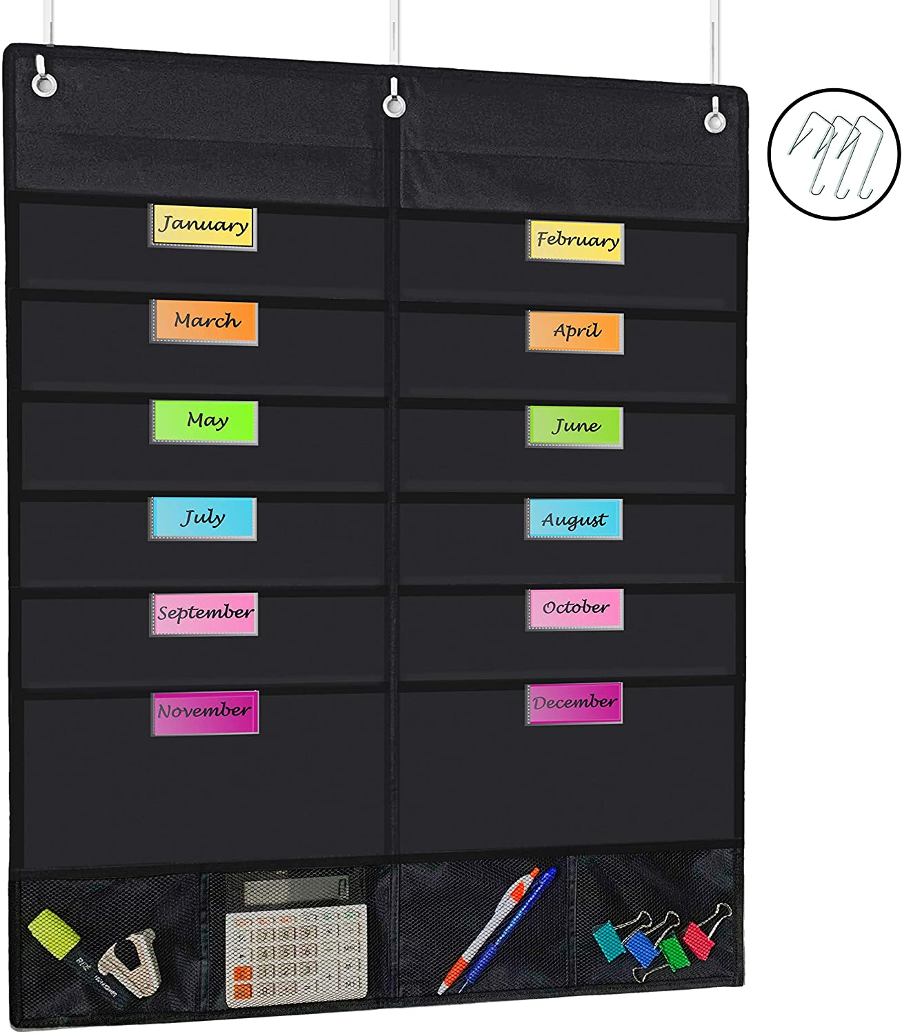 APLOMB! - 2020 Monthly Hanging Bill Organizer, Chart Pockets with Name Tags - Wall Hanging or Over The Door Storage - Home Office, School, Dorm, Scrapbook, Cubicle - Black