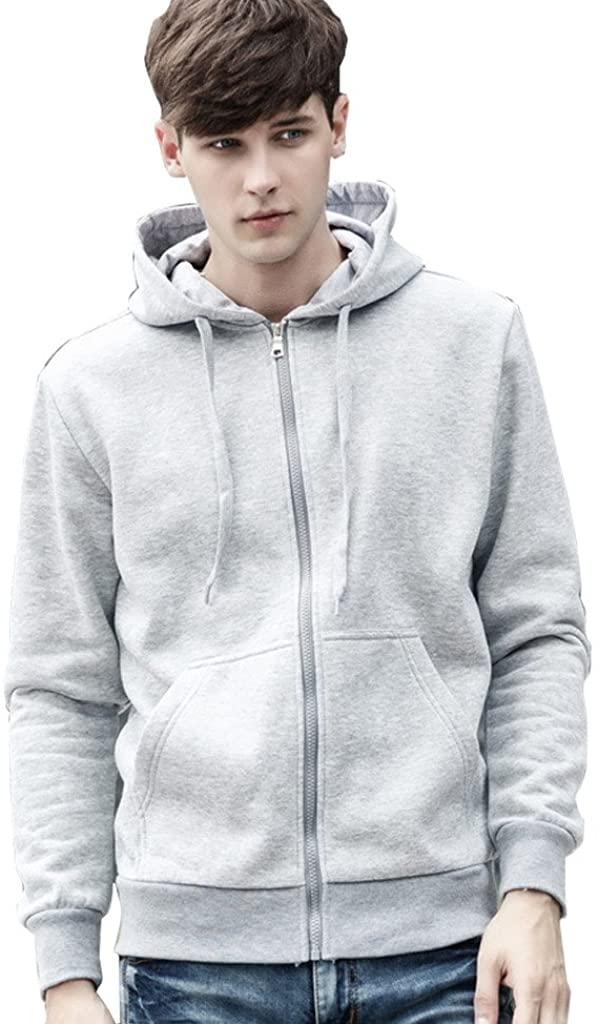 QZUnique Men's Classic Hoodie Zip Front Hooded Sweatshirt Grey XL