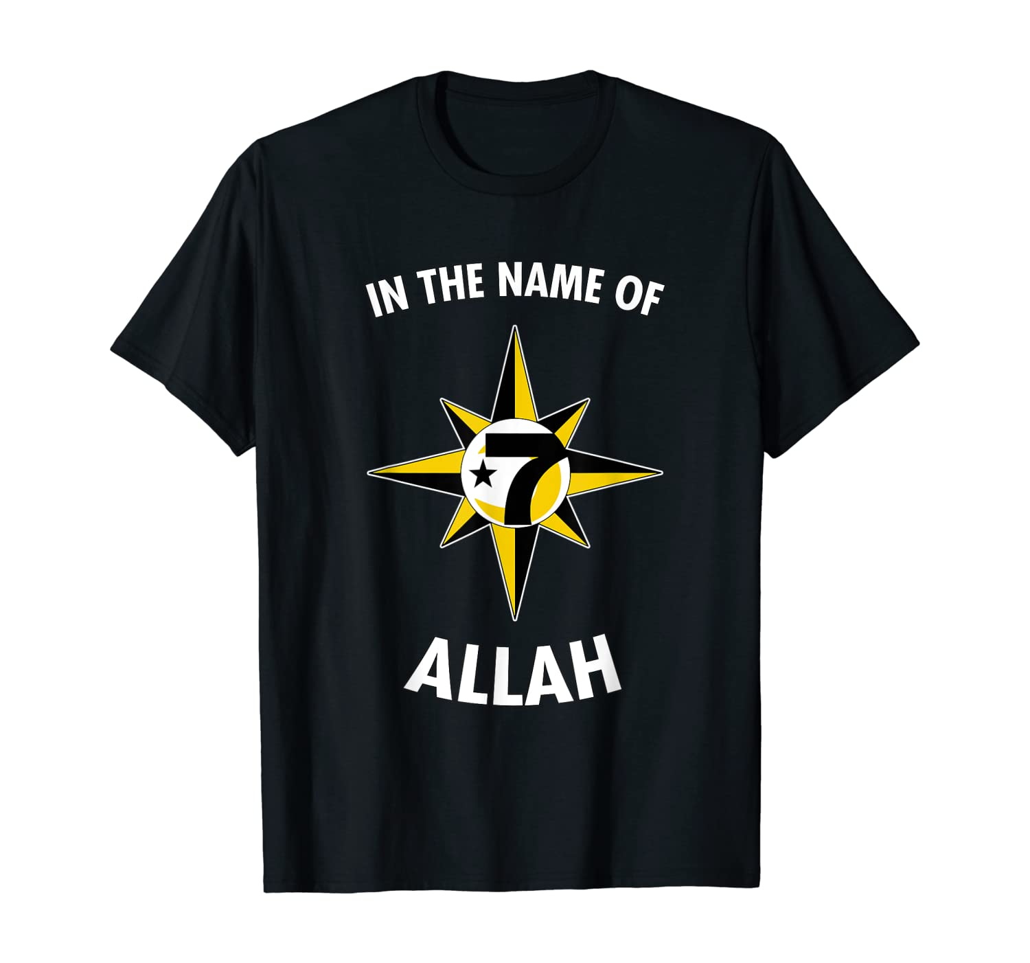 In the Name Of Allah 7 Logo Crescent Star 5 percent t shirt