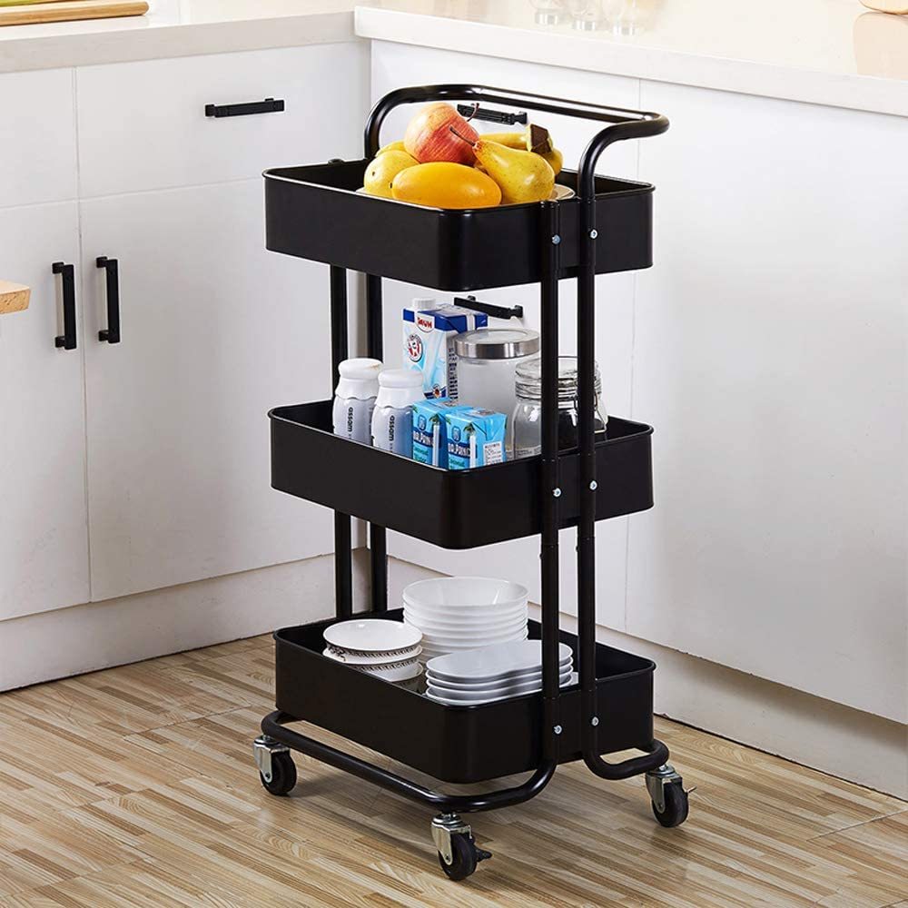 SSLine 3 Shelf Metal Rolling Kitchen Storage Cart Organizer, Heavy Duty Utility Service Cart with Wheels and Handle Movable Slim Household Cart Trolley Kitchen Bathroom Storage Shelves - Black