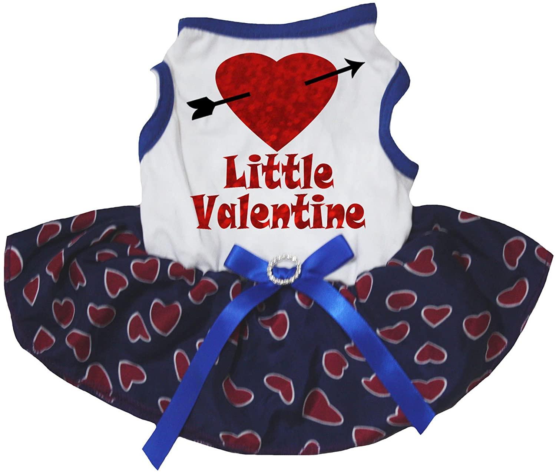 Petitebella Little Valentine Heart White Shirt Blue Hearts Tutu Puppy Dog Dress