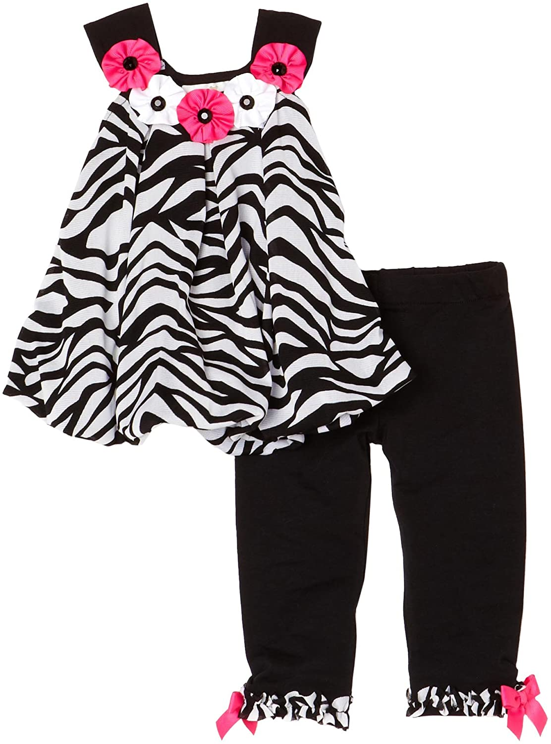 Rare Editions Baby Girls' Zebra Bubble Top Legging Set