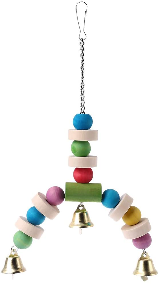 Zripool Wooden Birds Toys Swings Perches with Bells Hanging Toys for Parakeet Budgie Cockatiel Small