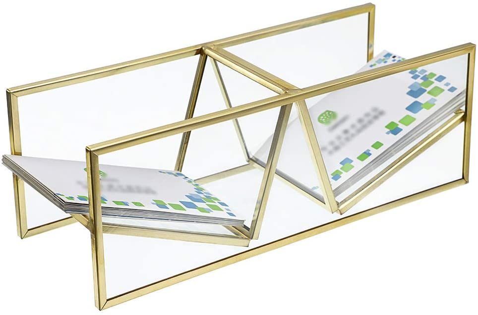 Hipiwe 2 Slots Glass Business Card Holder, Vintage Gold Metal Name Card Display Stand Unique Desktop Business Card Organizer for Office Countertop, Holds 150pcs Name Cards