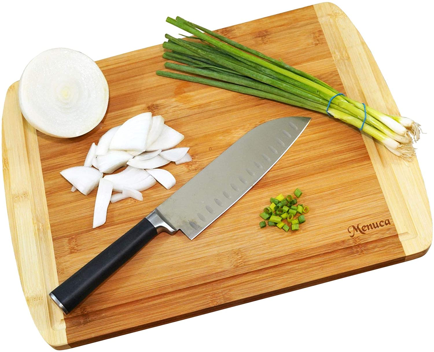 Cutting Boards: Organic Bamboo Cutting Board with Juice Grooves - Thick, Heavy Duty Wooden Butcher Block for Meat + Vegetables - Beautiful Serving Tray + Cheese Board - Ecofriendly (Large)