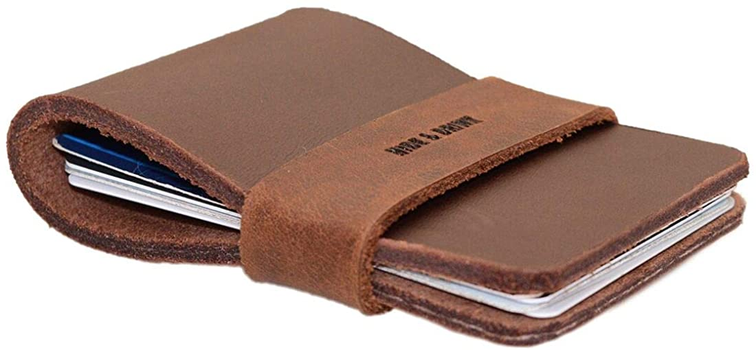 Hide & Drink, Leather Elastic Card Holder, Holds Up to 8 Cards Plus Folded Bills/Case/Organizer/Cash/Accessories, Handmade Includes 101 Year Warranty :: Bourbon Brown