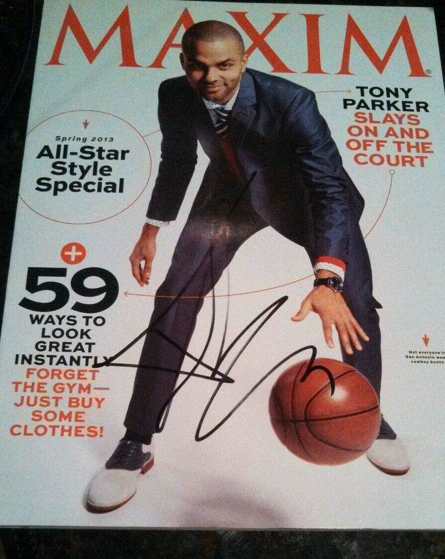 Tony Parker Autographed Signed NBA Champions San Antonio Spurs Maxim JSA Signed