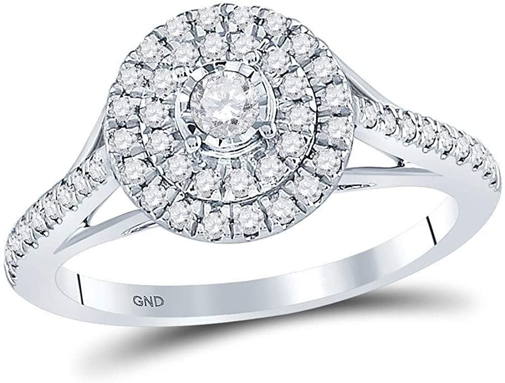 Dazzlingrock Collection 0.62 Carat (ctw) Round Diamond Bridal Cluster Engagement Ring, 10K White Gold