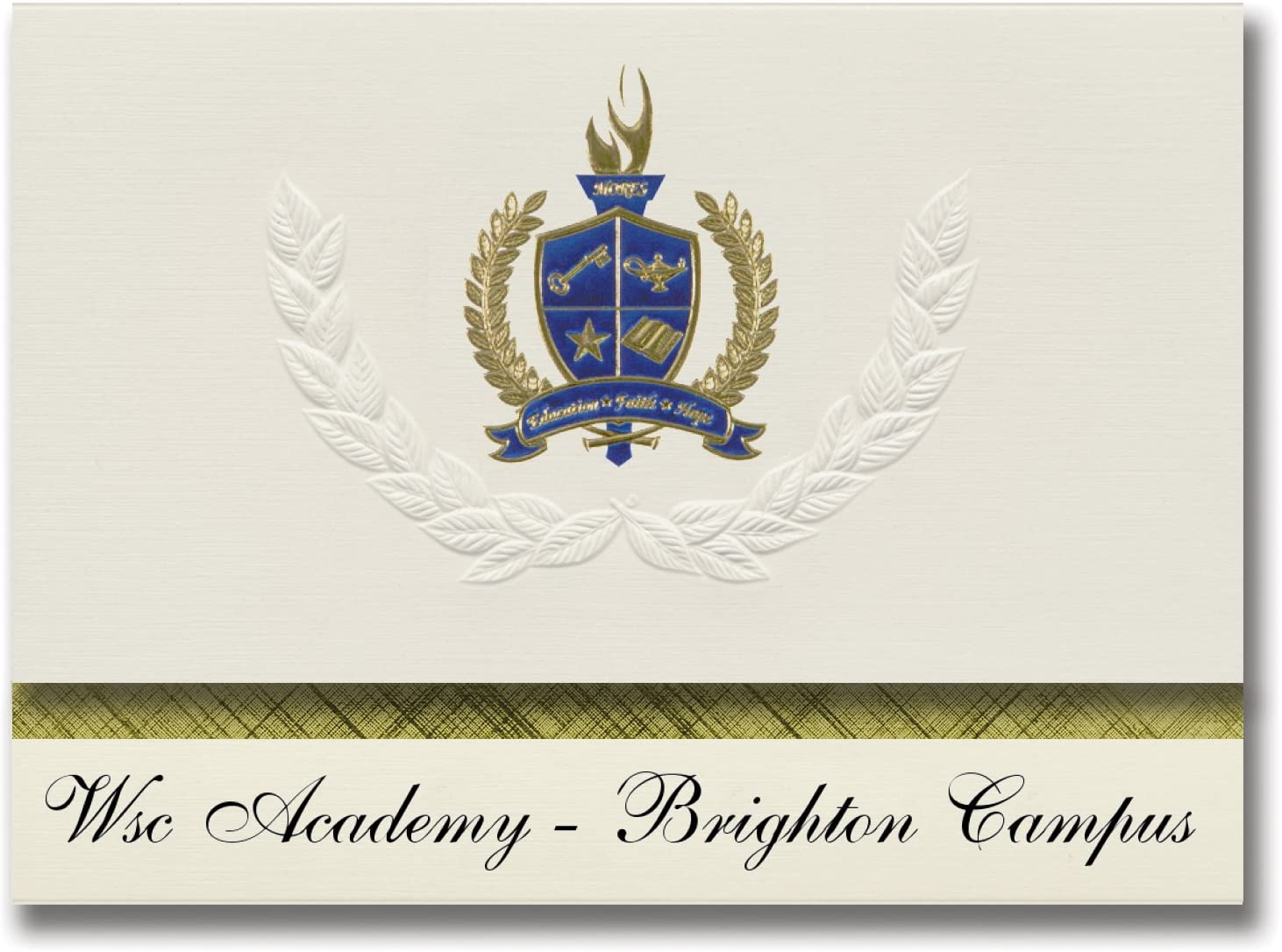 Signature Announcements Wsc Academy - Brighton Campus (Brighton, MI) Graduation Announcements, Presidential style, Elite package of 25 with Gold & Blue Metallic Foil seal