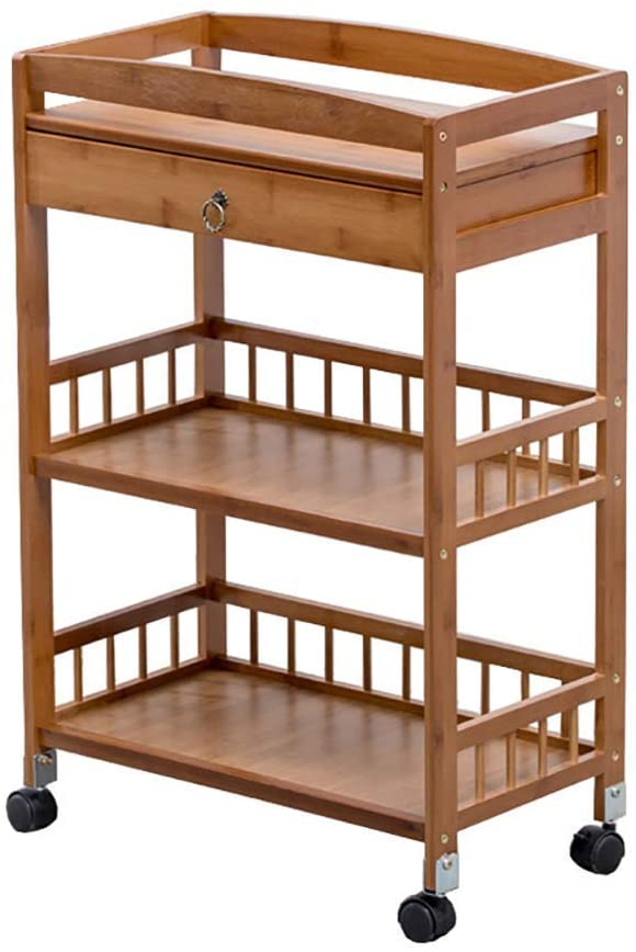 PLLP Hospital Trolley, Medical Supplies Rack,Medical Cart Tool 3 Tier Beauty Salon Cart with Drawer Handle, Medical Utility Rolling Trolley with Universal Brake Wheel, Durable Catering Cart,Brown
