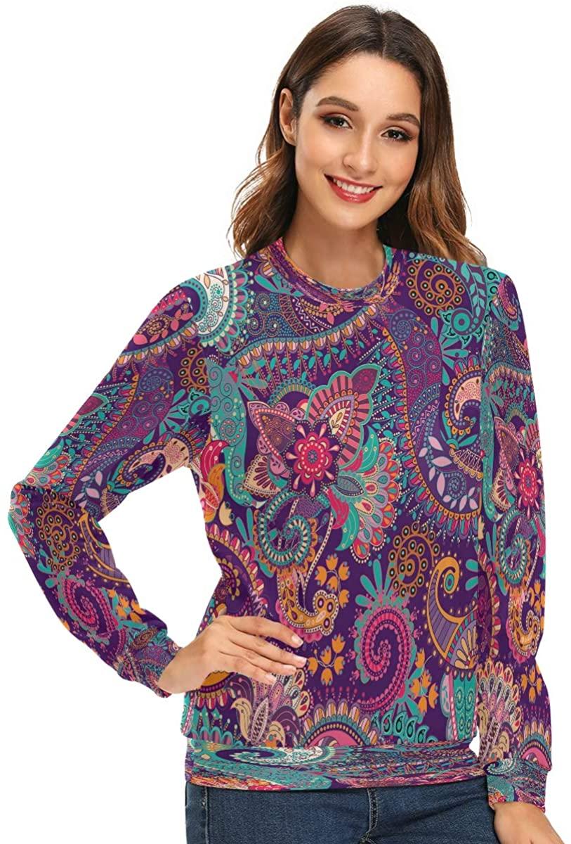Women's Crewneck Sweatshirt Paisley Pattern Long Sleeve Pullover Hoodless Sweaters Novelty