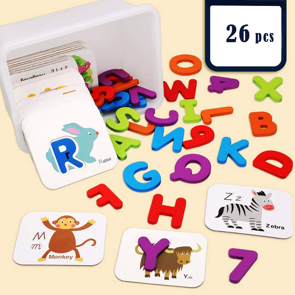 COVAODQ Alphabet Toddler Flash Cards Wooden Letters Jigsaw Numbers Preschool Learning Educational Alphabets Puzzles Flashcards for Toddlers Kids (Pairing Card)