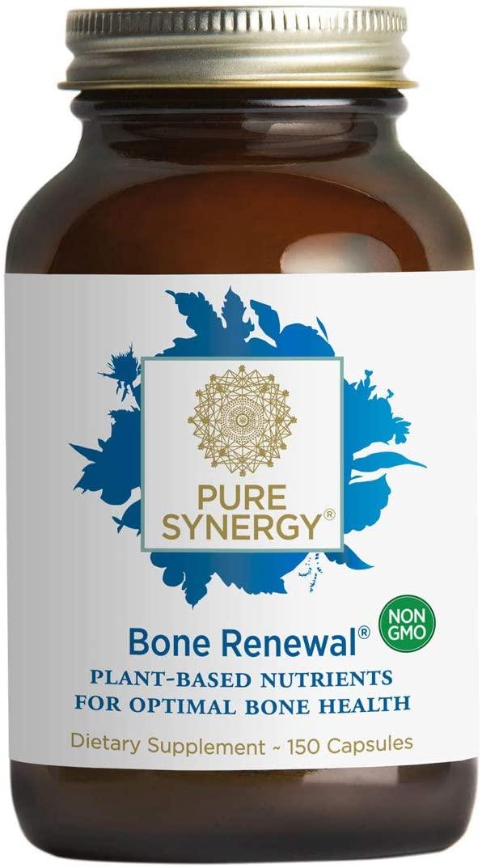 Pure Synergy Bone Renewal (150 Capsules) Bone Supplement w/Plant-Based Calcium, Magnesium, D3, K2, Trace Minerals