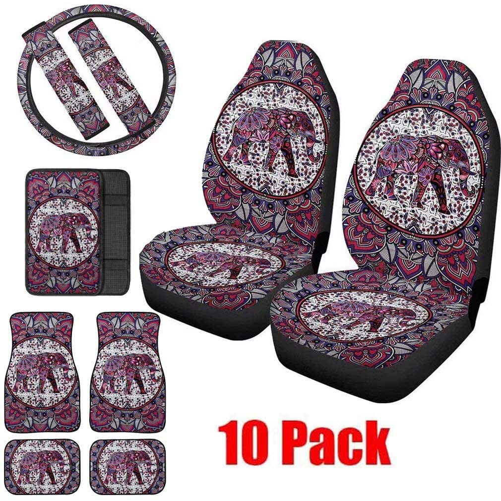 NDISTIN 10 Pack Indian Native Elephant Design Car Seat Covers Frint Seats Only for Women Aztec Design with Car Floor Mat,Steering Wheel Cover,Seat Belt Pads & Central Console Armrest Cushion