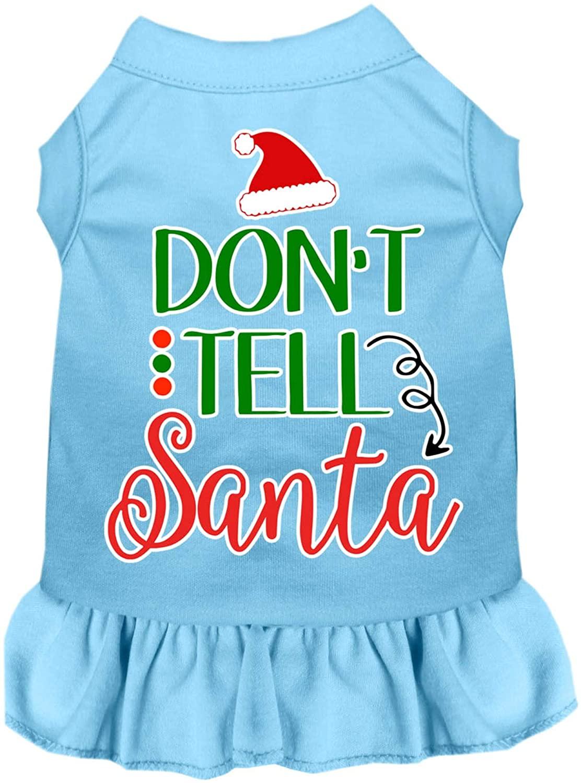 Mirage Pet Product Don't Tell Santa Screen Print Dog Dress Baby Blue XS