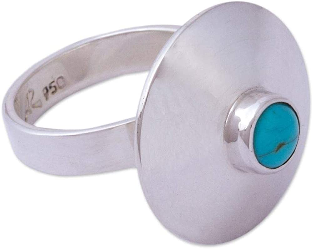 NOVICA Natural Turquoise .925 Sterling Silver Cocktail Ring, Futuristic Fashion