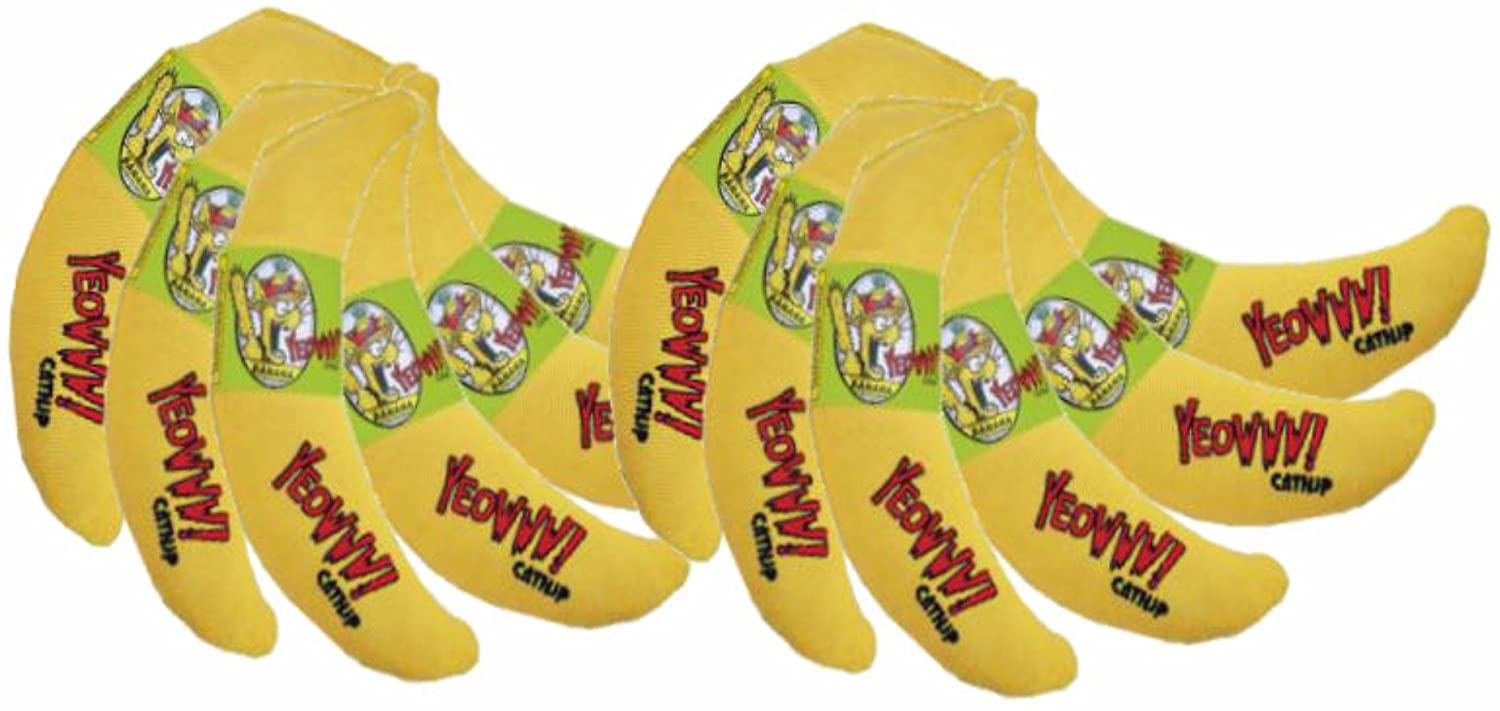 Yeowww! Catnip Banana 12 Pack | Pure Leaf & Flowertop Blend | Cat and Kitten Toy