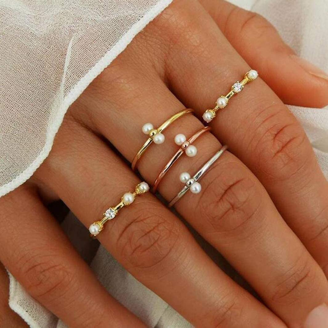 Acoolstore Mixed 5 Pieces Fashion Personality Simple Diamond Ring with Gold and Silver Rose Gold