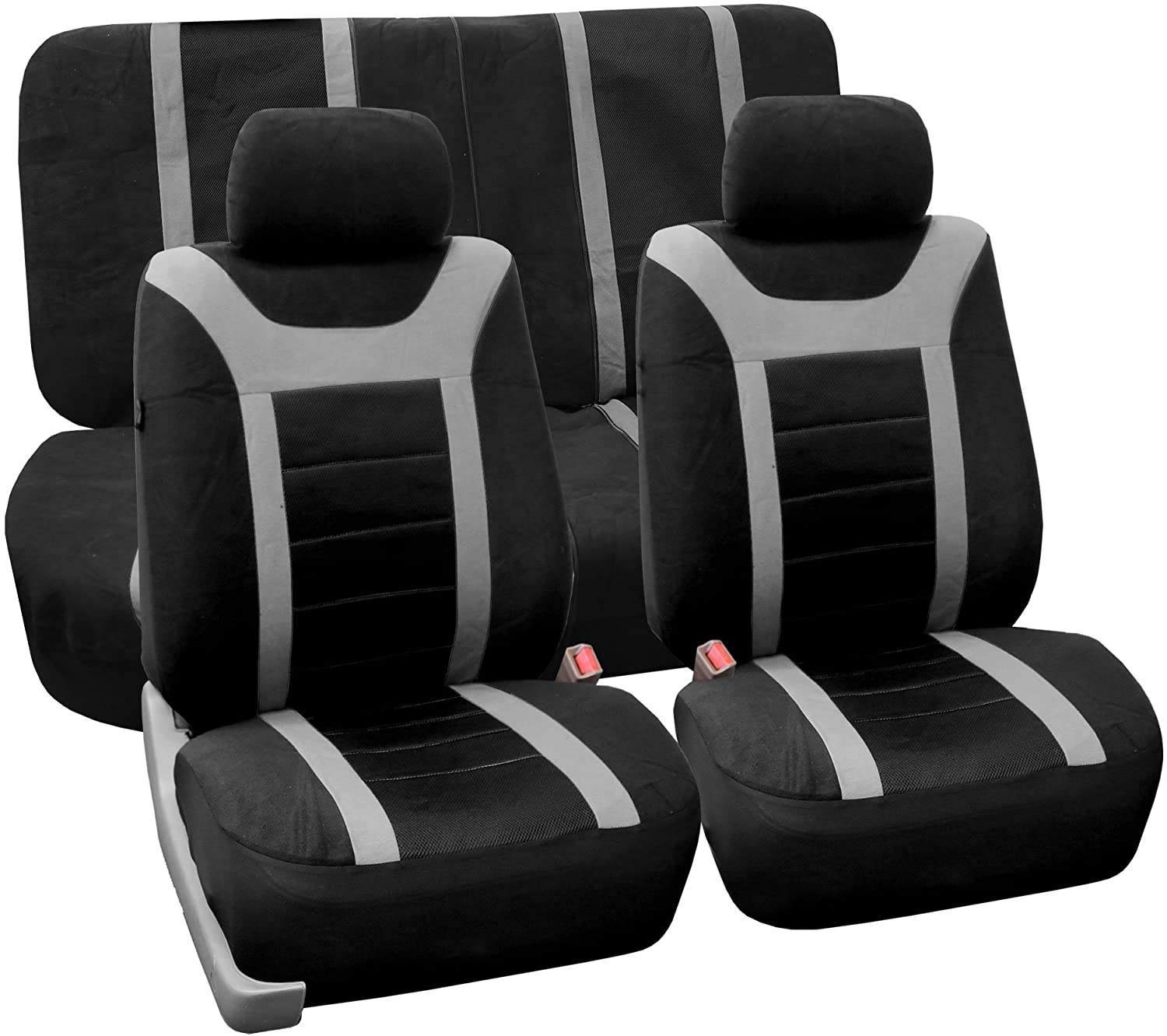 FH Group FB070112 Sports Seat Covers (Gray) Full Set with Gift – Universal Fit for Cars Trucks & SUVs