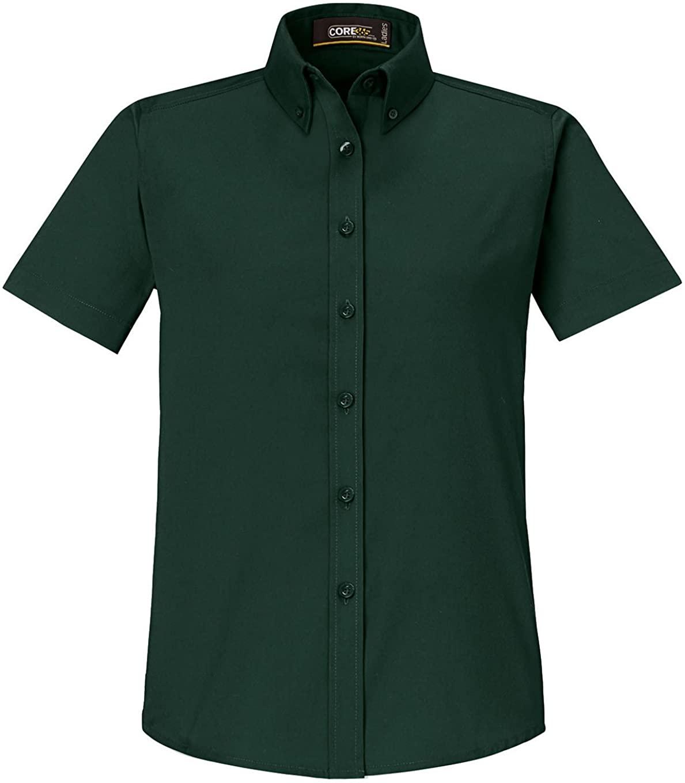 Ash City Women's Optimum Ladies' Core 365 Short Sleeve Twill Shirt, Forest Green