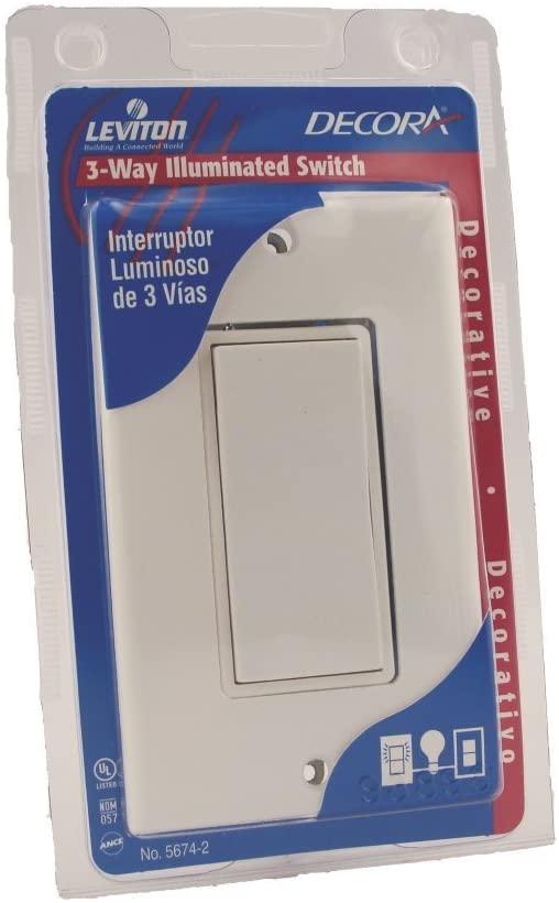 Leviton 5674-2W Illuminated Rocker Switch With Matching Wall Plate, 120/277 V, 15 A, White