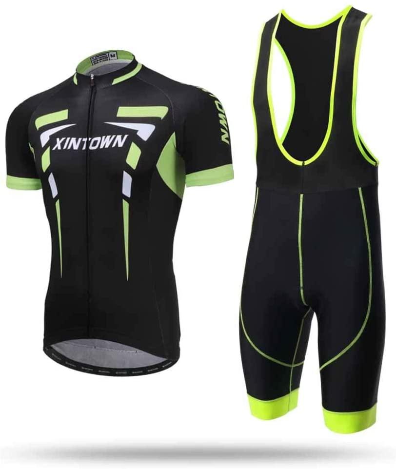 Unkoo High Elastic Refraction Jersey Outdoor Sports Fashion Mens Downhill Jersey Rage MTB Cycling Top Short Short Sleeve Shirt Bib Shorts Sets Bicycle Clothing