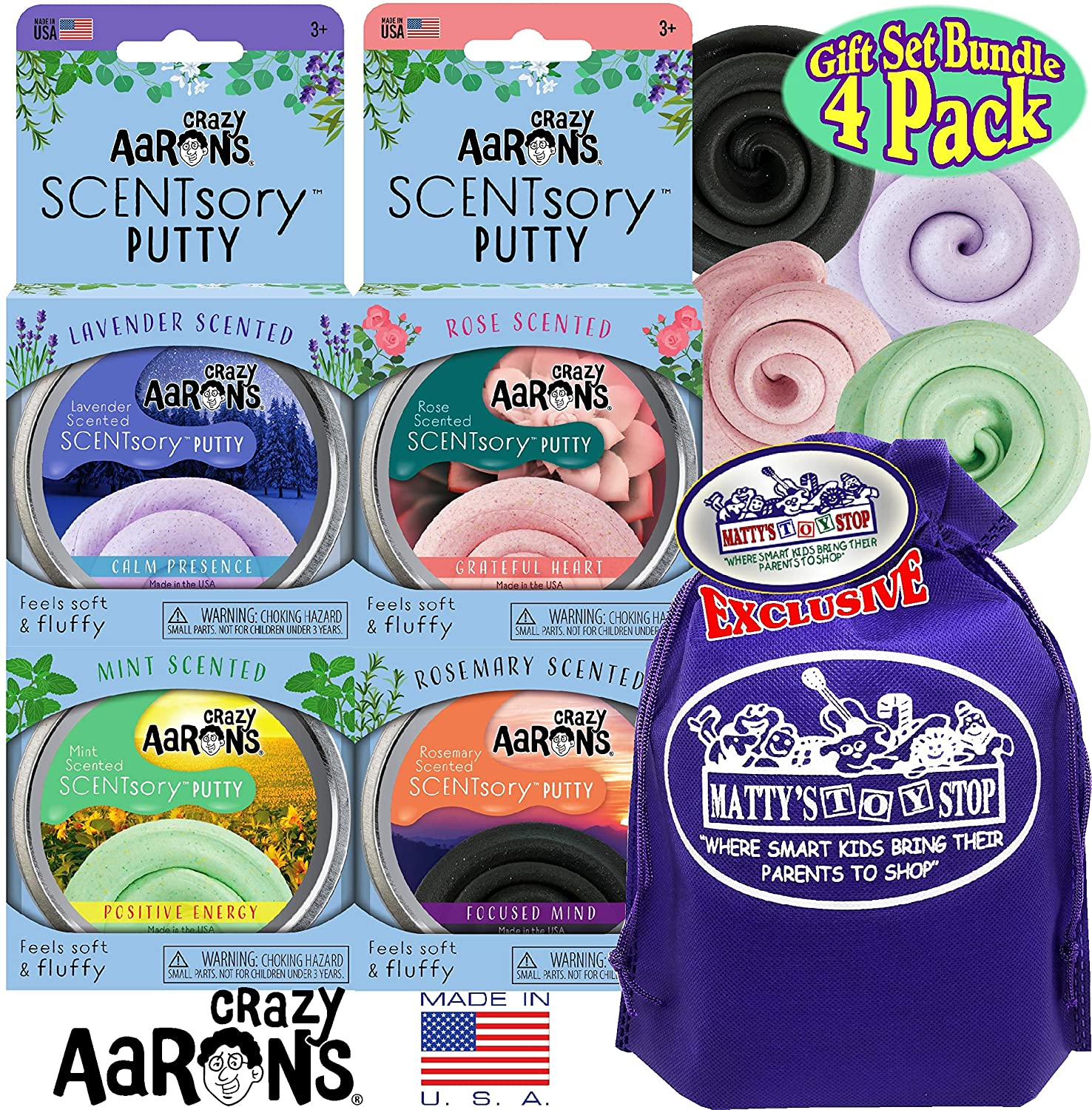 Crazy Aaron's Thinking Putty Aromatherapy SCENTSory Tins Gift Set Bundle Featuring Calm Presence, Positive Energy, Grateful Heart, Focused Mind & Bonus Matty's Toy Stop Bag - 4 Pack (20g Each)
