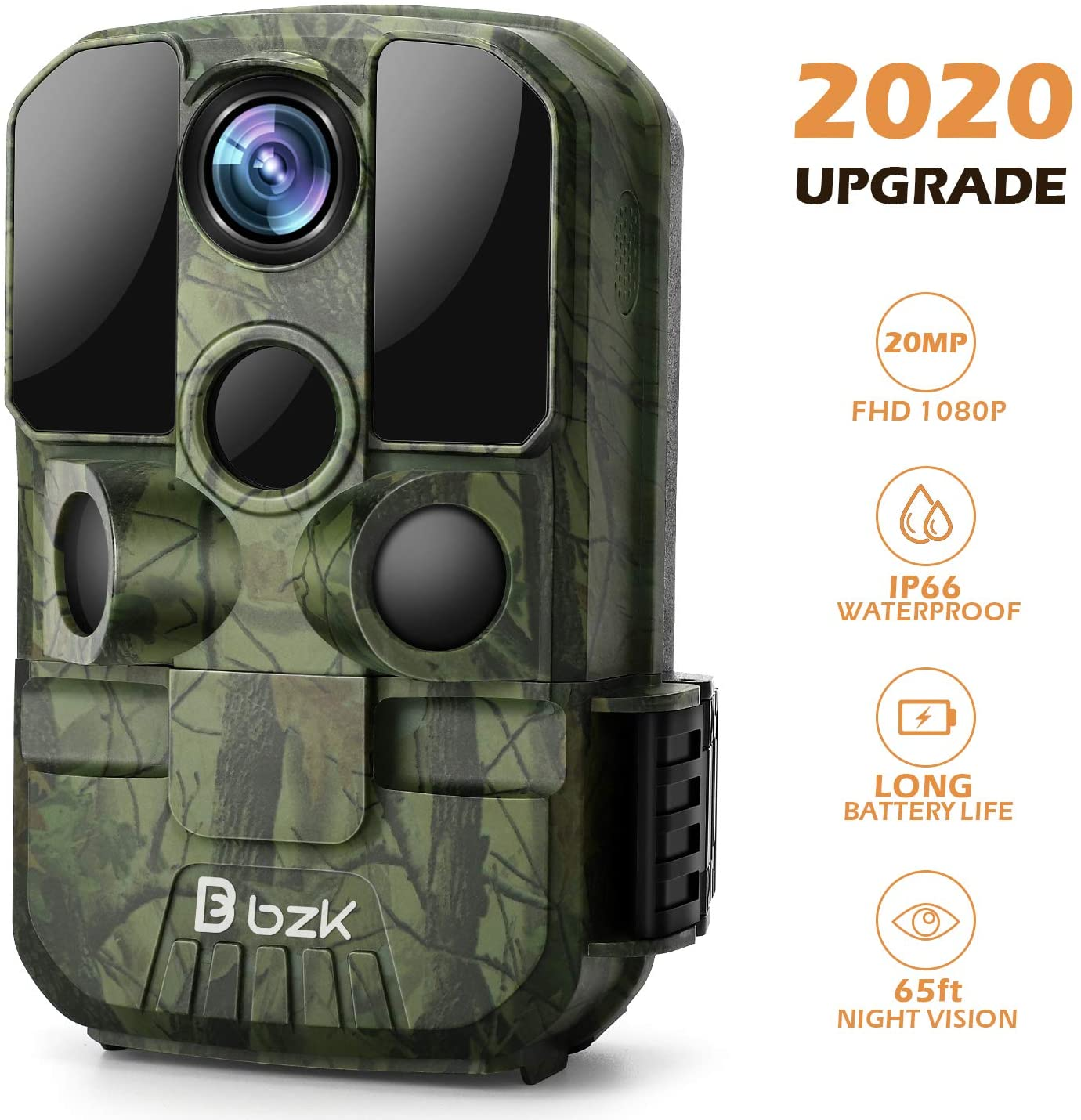 BZK Trail Game Camera - 20MP 1080P HD Waterproof Hunting Cam with Motion Activated Night Vision and 120° Wide Angle Lens for Outdoor Scouting, Wildlife Watching, Farm Monitoring