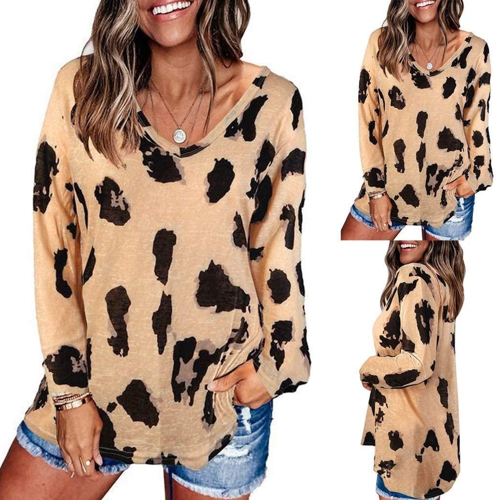 Ysiuefos Women's Autumn Fashion Leopard Print V Neck Long Sleeve Loose T Shirt Casual Tops Blouses Tunic Tees Shirts