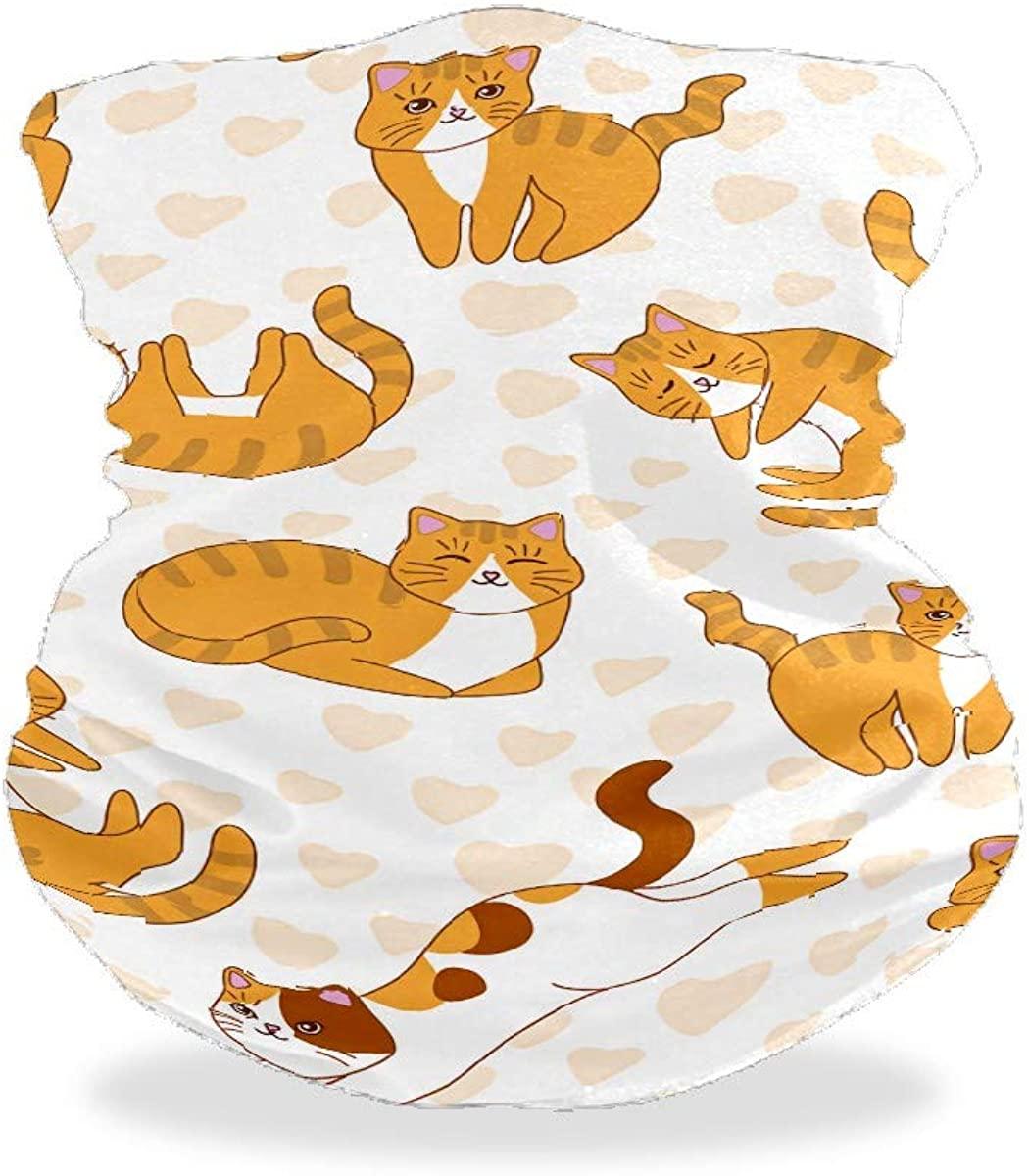J.COXLOD Face Scarf Neck Gaiter, Adjustable Reusable Bandana, Sun UV Protection Cool Lightweight Face Cover for Women& Men Cat Printed